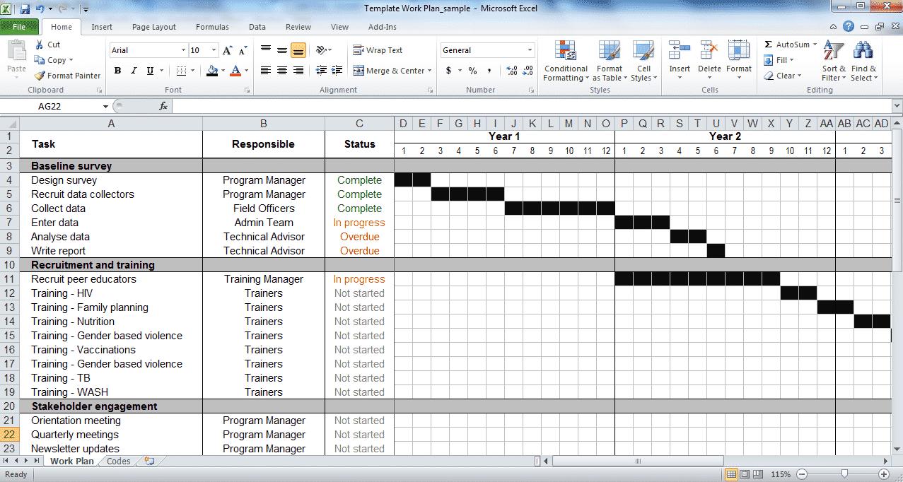 Work plan template - tools21dev In Work Plan Template Word