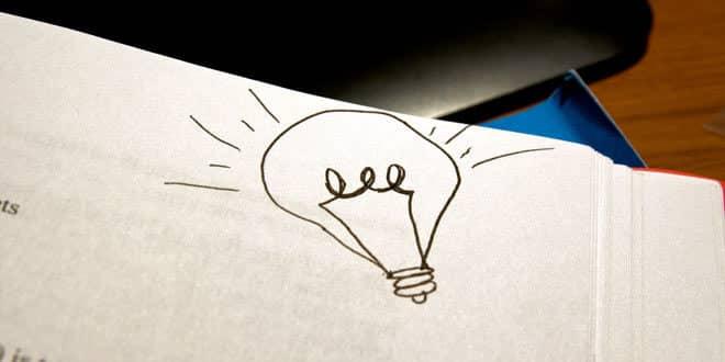 Light bulb on paper