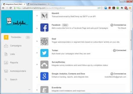 MailChimp Integrations - Screenshot