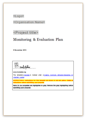 Monitoring and Evaluation (M&E) Plan Template Screenshot
